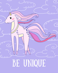 fantastic vector card with cartoon unicorn on a cloudy background