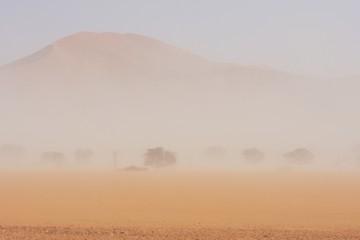 Sandsturm im Namib-Naukluft-Nationalpark in der Sossusvlei-Region in Namibia