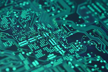 closeup over electronic circuit board