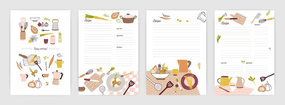 Collection of recipe card or sheet templates for making notes about meal preparation and cooking ingredients. Empty cookbook pages decorated with colorful crockery and vegetables. Vector illustration.