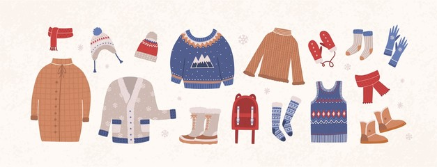 Bundle of knitted winter clothes and outerwear isolated on light background - woolen sweater, cardigan, waistcoat, snow boots, hat, gloves, socks. Set of seasonal clothing. Flat vector illustration.