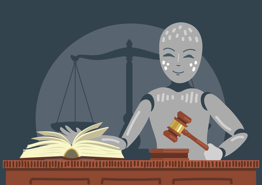 Robot judge holding gavel.