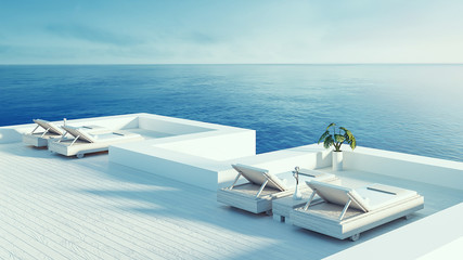 Beach lounge - ocean villa seaside & sea view for vacation and summer / 3d render outdoor