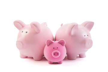Group of piggy banks over white background with clipping path
