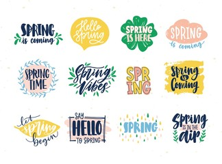 Collection of spring slogans or phrases written with creative fonts and decorated by springtime natural elements. Set of handwritten letterings isolated on white background. Vector illustration.