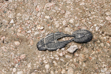 Torn off shoe sole on a hiking trail, torn hiking shoe on the hiking trail