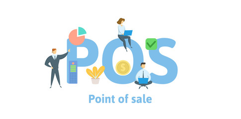 POS, Point of Sale. Concept with keywords, letters and icons. Colored flat vector illustration. Isolated on white background.