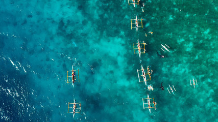 whale shark with boat in aerial view, snorkeling, Philippines