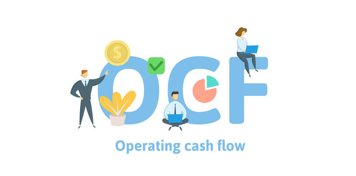 OCF, Operating Cash Flow. Concept with keywords, letters and icons. Colored flat vector illustration. Isolated on white background.