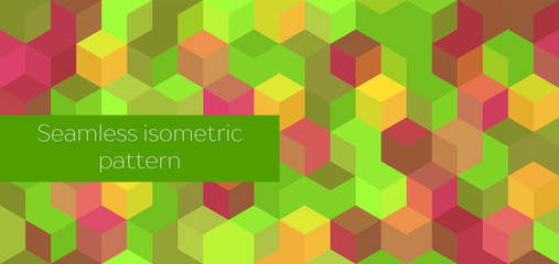 Isometric abstract seamless pattern. Green, yellow and red cubes. textured background for web page