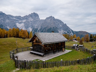 Cabin Dolomites Mountains