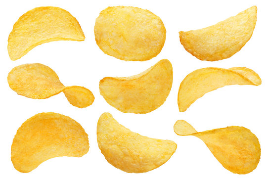 Collection of potato chips, isolated on white background