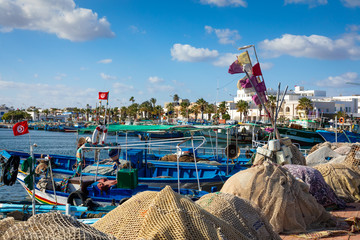Boats in a fishing port in Mahdia, Tunisia.
