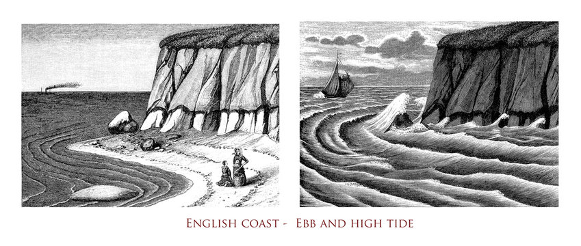 Vintage engraving of English Channel coast with the tidal sea waters variations from ebb to high tide