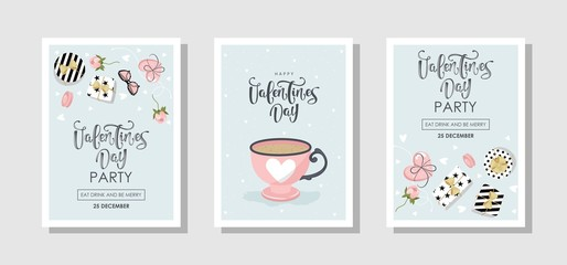 Set of romantic cards in vintage style. Labels and festive items. Vector illustration.