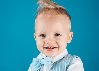 Healthy haircare tips for kids. Boy child with stylish blond hair. Little child with messy top haircut. Little child with short haircut. Haircare products. Bring more creativity and style to hair