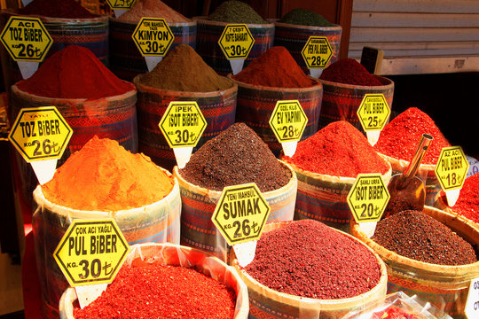 Spice Bazaar. Turkish spices for sale . Istanbul