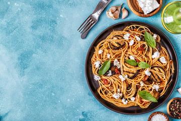 Pasta alla Norma - traditional Italian food.