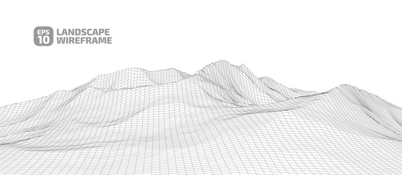 Abstract wireframe background. 3D grid technology illustration landscape. Digital Cyberspace in the Mountains with valleys.