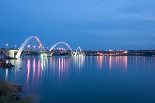 Modern JK Bridge over Paranoa Lake in Brasilia