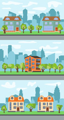 Set of three vector illustrations of city street