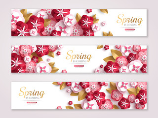Vintage spring horizontal banners