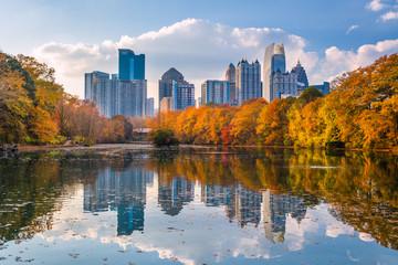 Fototapete - Atlanta, Georgia, USA Piedmont Park skyline in autumn