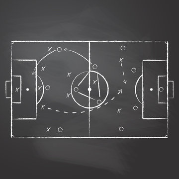 The tactical scheme of football game drawn with the chalk on the black rubbed chalkboard. The soccer tactical scheme with two teams players and strategy arrows. Vector illustration