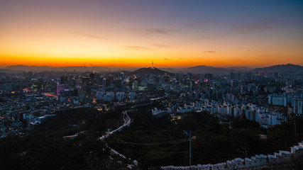 Wall Mural - Sunrise scene of Seoul downtown city skyline
