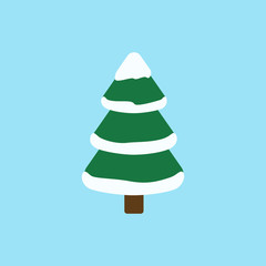 Flat icon Christmas tree with snow isolated on blue background. Vector illustration.