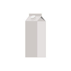 Flat icon mockup of cardboard box of milk isolated on white background. Vector illustration.