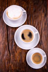 Cappuccino, black coffee and americana