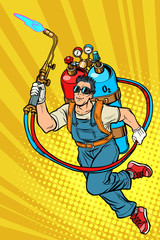 welder professional worker. superhero with gas cylinders