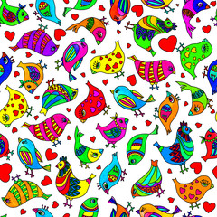 Seamless pattern. Colorful abstract birds. Watercolor illustration. The pattern is for wallpapers, textiles, pillows, wrapping paper.