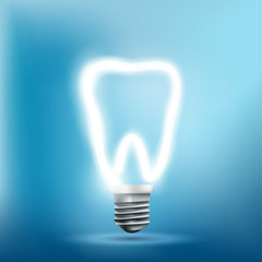 Implant human tooth as a light bulb. Vector illustration.