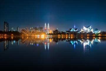 Wall Mural - Cityscape of Kuala Lumpur at night. Titiwangsa park at Kuala Lumpur, Malaysia skyline at night.