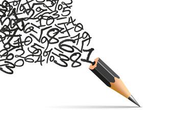 Concept de des mathématiques et de la physique avec des chiffres qui s'échappe d'un crayon pour s'envoler en toute liberté.