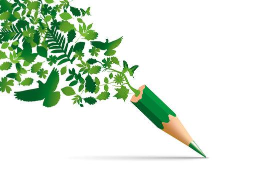 Concept de la protection de l'environnement avec des symboles de la nature qui s'échappe d'un crayon pour s'envoler en toute liberté