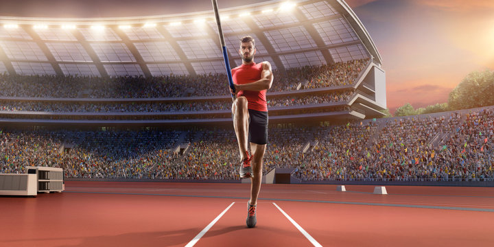Young male pole vault athlete with pole bar in starting line. Men in sport clothes at athletic sport track in professional stadium