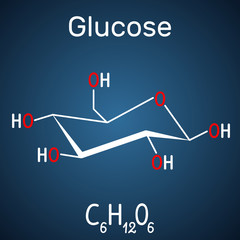Glucose (dextrose, D-glucose) molecule. Structural chemical formula on the dark blue background