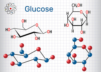 Glucose (dextrose, D-glucose) molecule. Sheet of paper in a cage. Structural chemical formula and molecule model