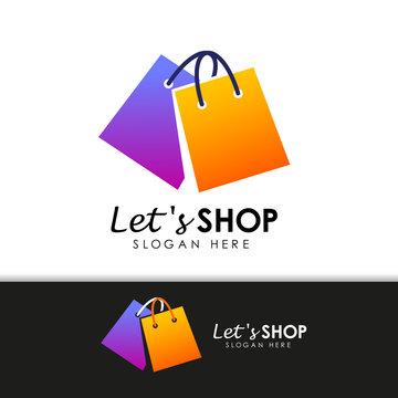 shopping store logo design vector