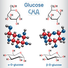 Glucose (dextrose, D-glucose) grape sugar molecule molecule. Alpha-glucose and beta-glucose. Structural chemical formula and molecule model