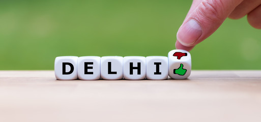 Fototapeten Delhi Thumbs up or thumbs down? Travel rating for the city of Delhi, India