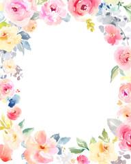Watercolor Flower Frame Background. Floral Frame Background Wreath