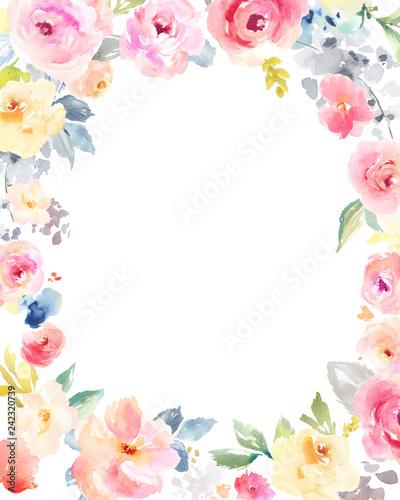 """""""Watercolor Flower Frame Background. Floral Frame"""