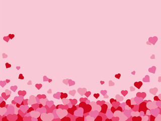 Valentines Day hearts border with pink background