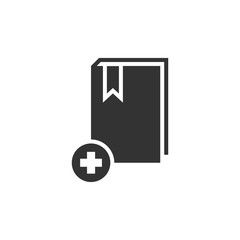Book add icon flat