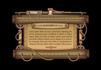 Freely editable mechanical banner decorated with brass gears, nozzles and rivets on a black Steampunk background.