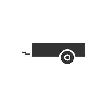 Car trailer icon flat
